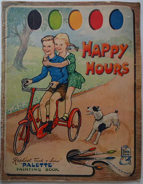1950s Raphael Tuck Happy Hours Painting Colouring In Book