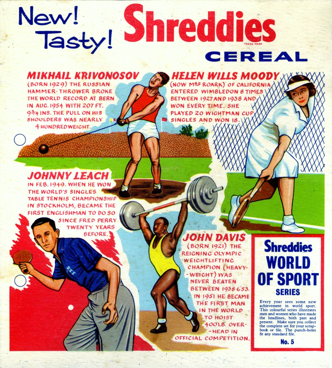 1950s Shreddies World of Sport No 5