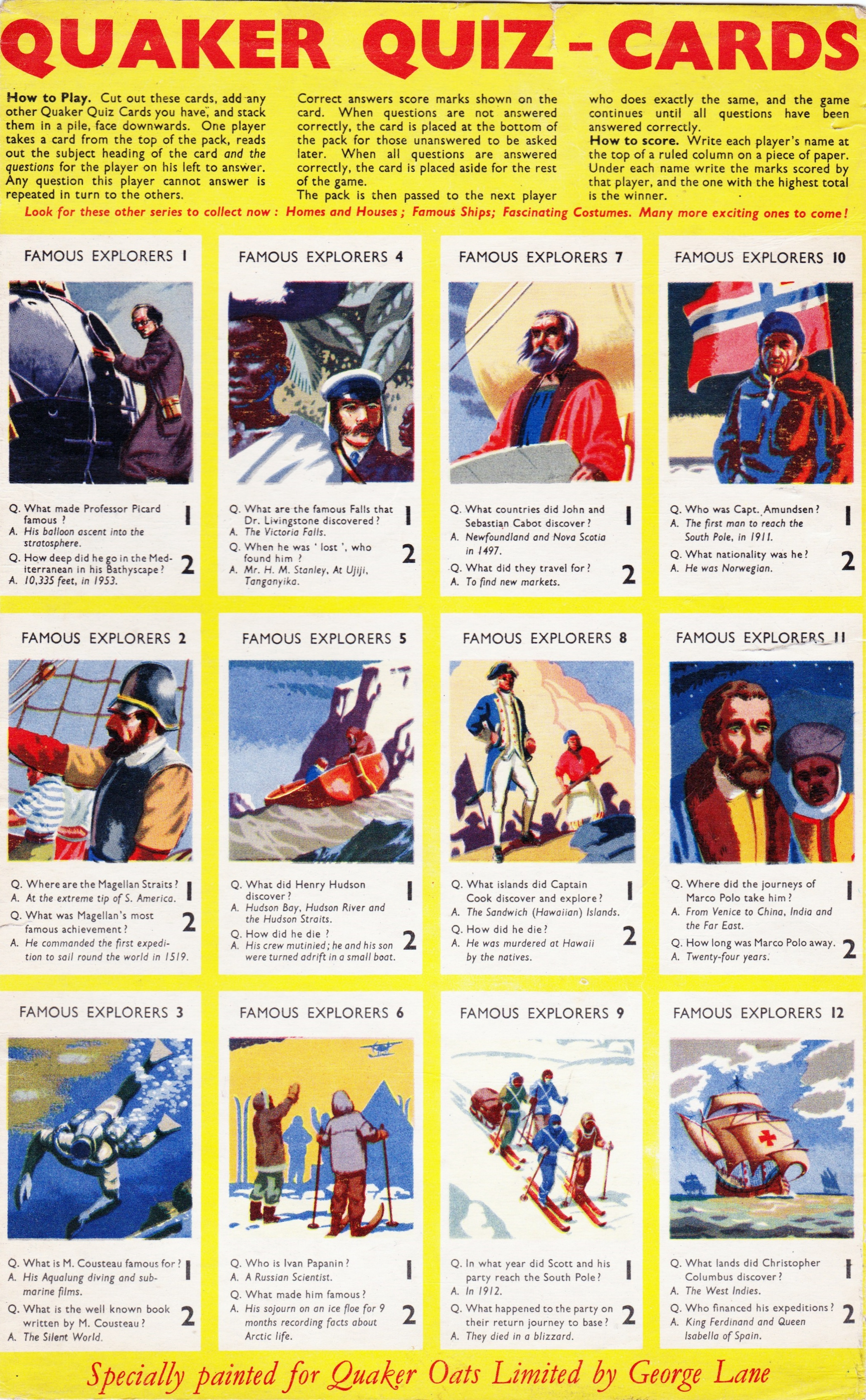 1956 Puffed Wheat Quiz Cards Famous Explorers2