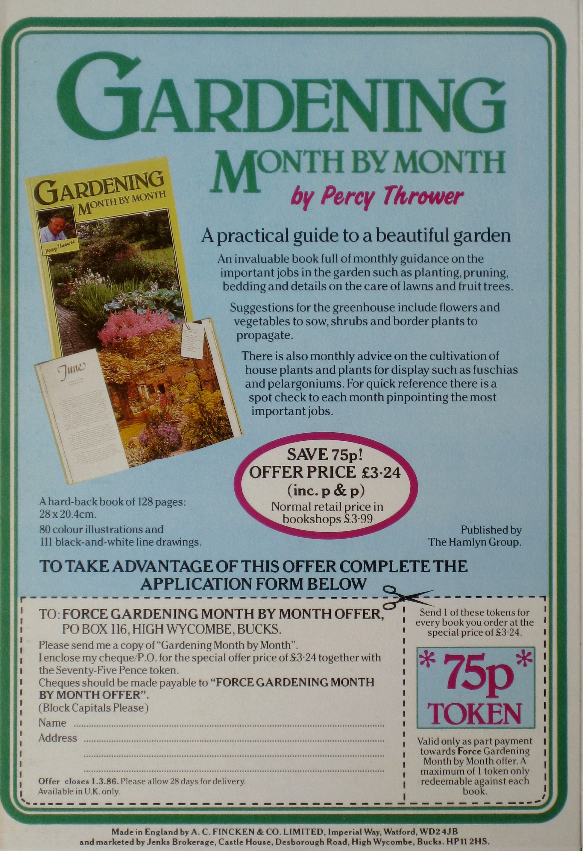 1984 Force Gardening Month by Month book