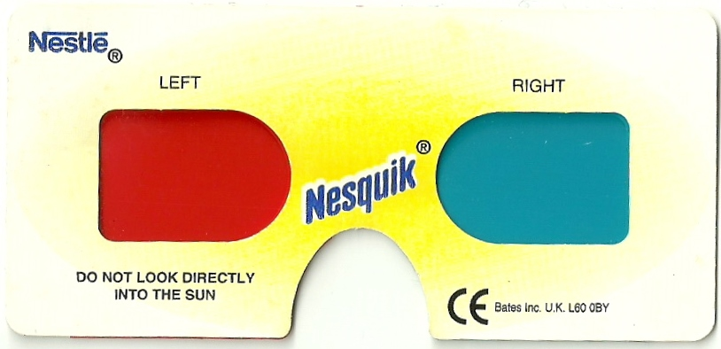 1997 Nesquick 3D Glasses reverse white