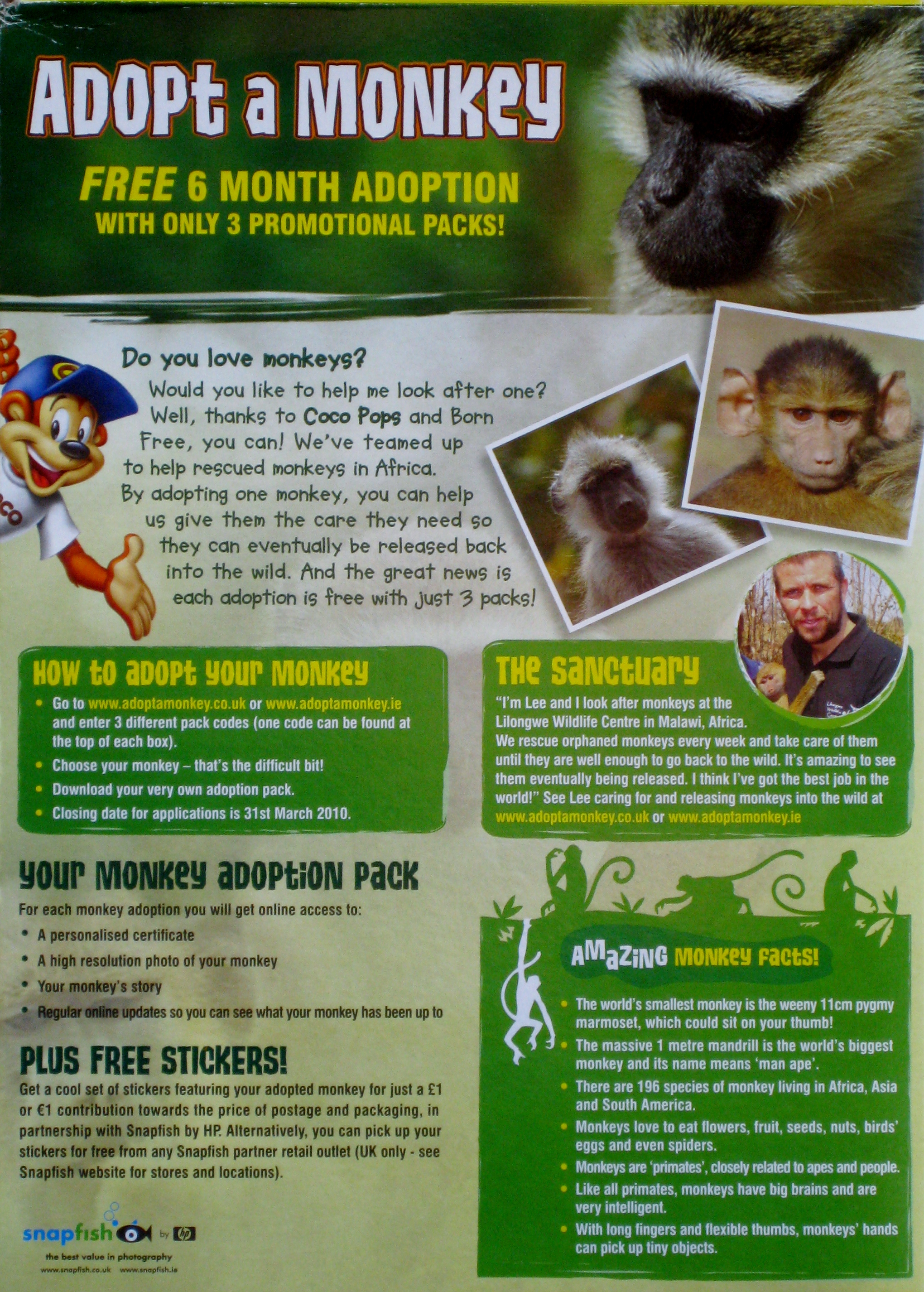 2009 Coco Pops Adopt a Monkey