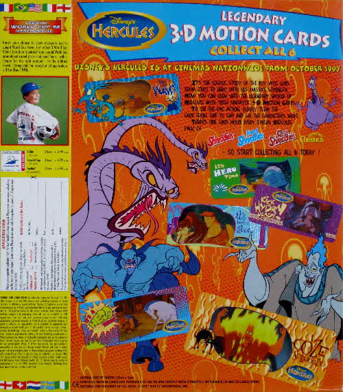 1997 Cheerios Hercules 3D Motion cards