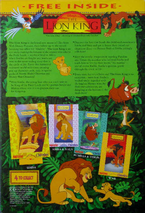 1994 Cheerios Lion King Pop Ups