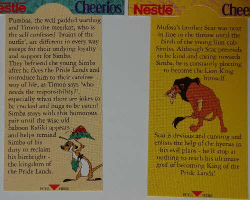 1994 Cheerios Multi Lion King Pop Ups 1 (2)