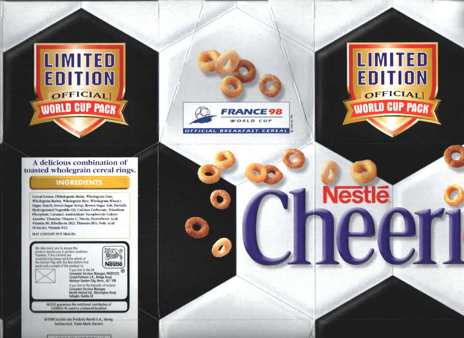 1998 Cheerios Euro 98 Football pack