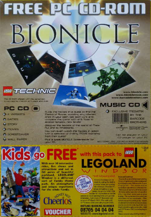 2001 Cheerios Bionicle CD Rom back