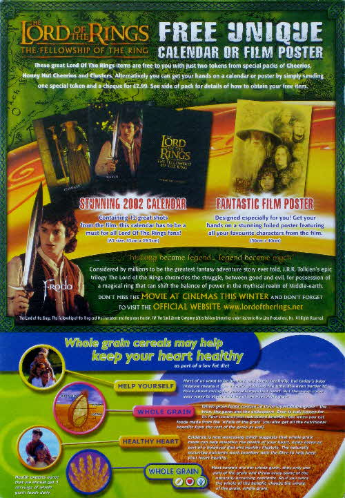 2001 Cheerios Lord of the Rings Calendar & Poster