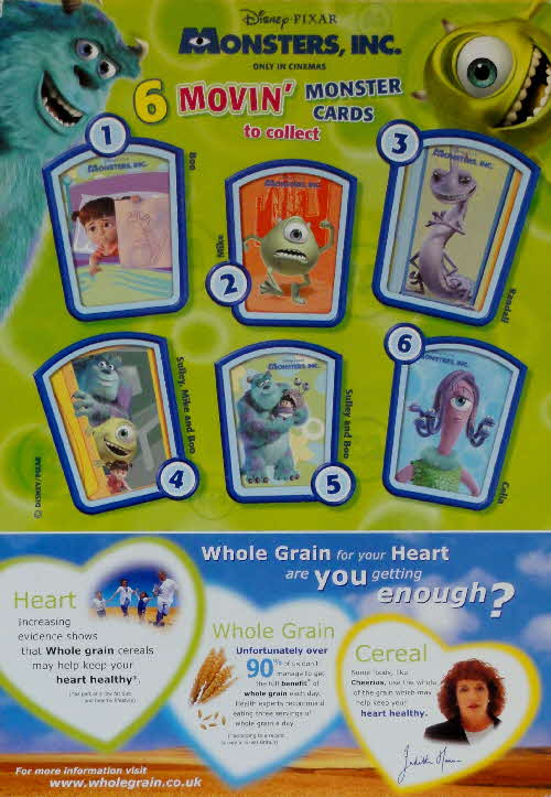 2001 Cheerios Monsters Inc Moving Cards back