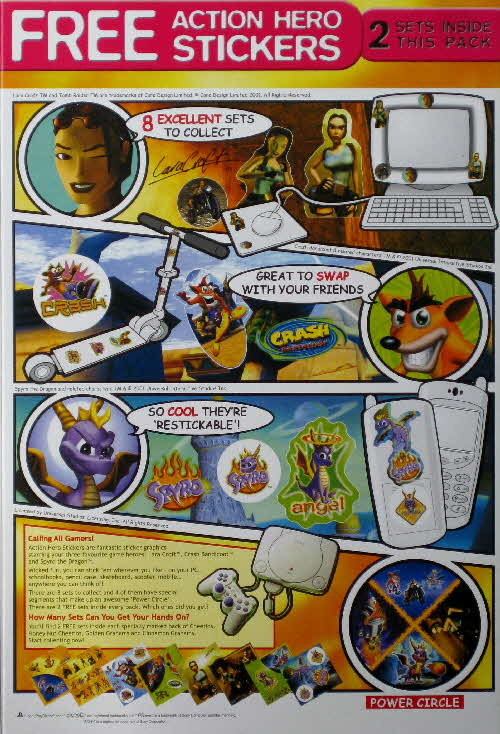 2001 Cheerios Playstation Stickers back