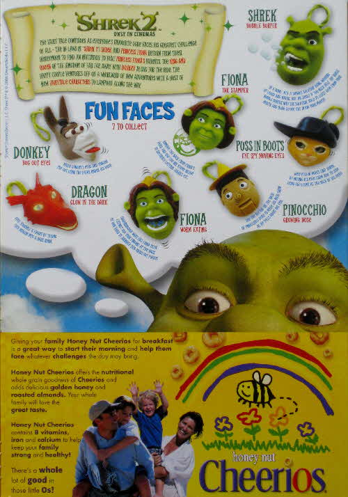 2004 Cheerios Shrek 2 Fun Faces