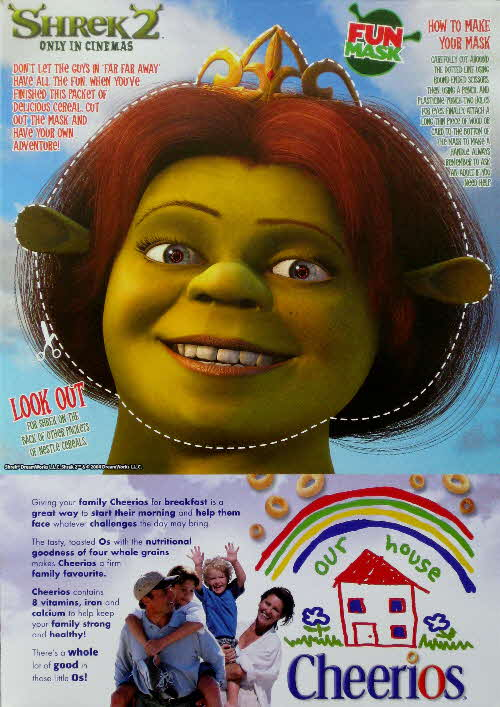 2004 Cheerios Shrek 2 Mask Fiona