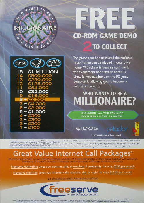 2001 Who Wants to Be a Millionairre CD Rom back