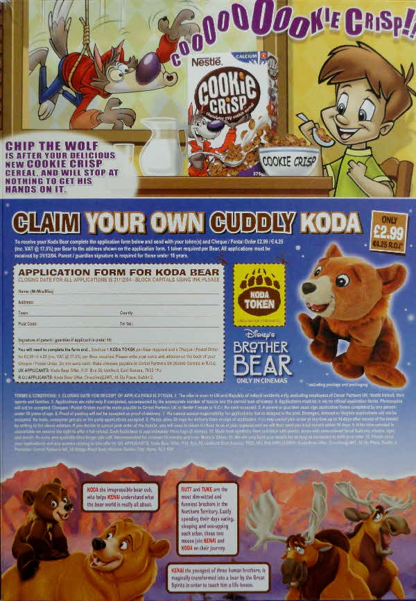 2003 Cookie Crisp Brother Bear Cuddly Koda