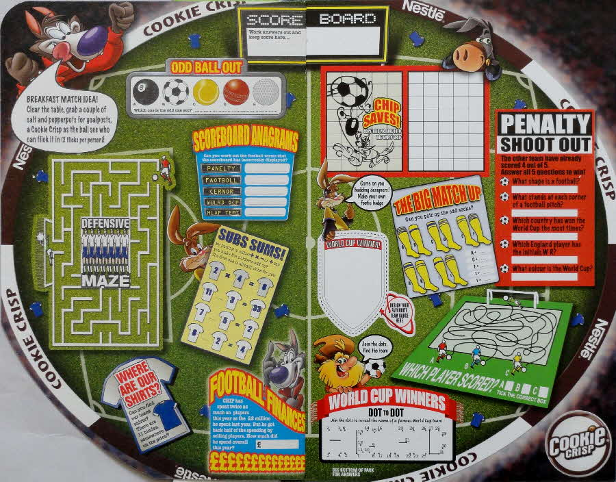2006 Cookie Crisp Lace Ace and Football Fun inside