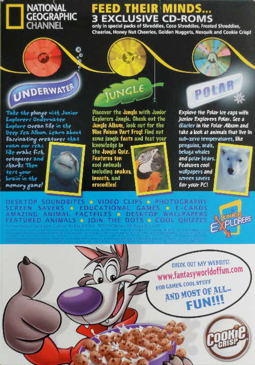 2006 National Geographic CD Roms with Cookie Crisp cereal