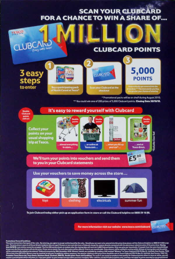 2010 Cookie Crisp 1m Tesco Clubcard points