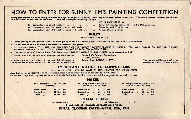 1939 Force Sunny Jim Painting Book Page 2