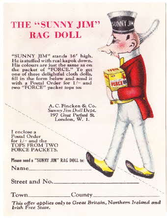 1930s Force Rag Doll Coupon & Recipe cards (2)