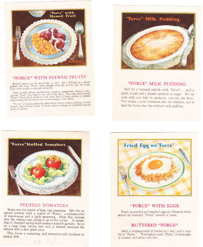1930s Force Rag Doll Coupon & Recipe cards (3)