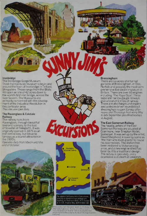 1977 Force Sunny Jims Excursions - Ironbridge, Bressingham, East Somerset Railway, Ravenglass Railway