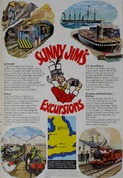 1977 Force Sunny Jims Excursions - Lechwedd, Didcot, SS Great Britain, Keighley Railway