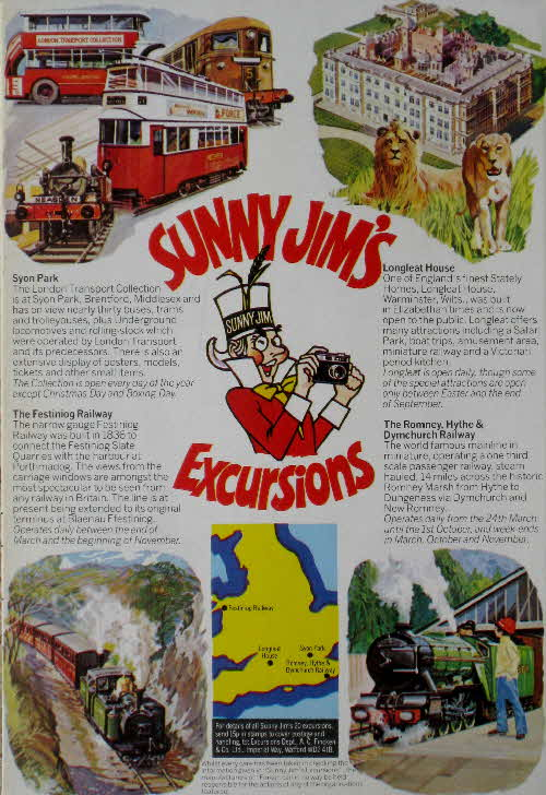 1977 Force Sunny Jims Excursions - Syon Park, Longleat, Festiniog Railway, Romney Railway