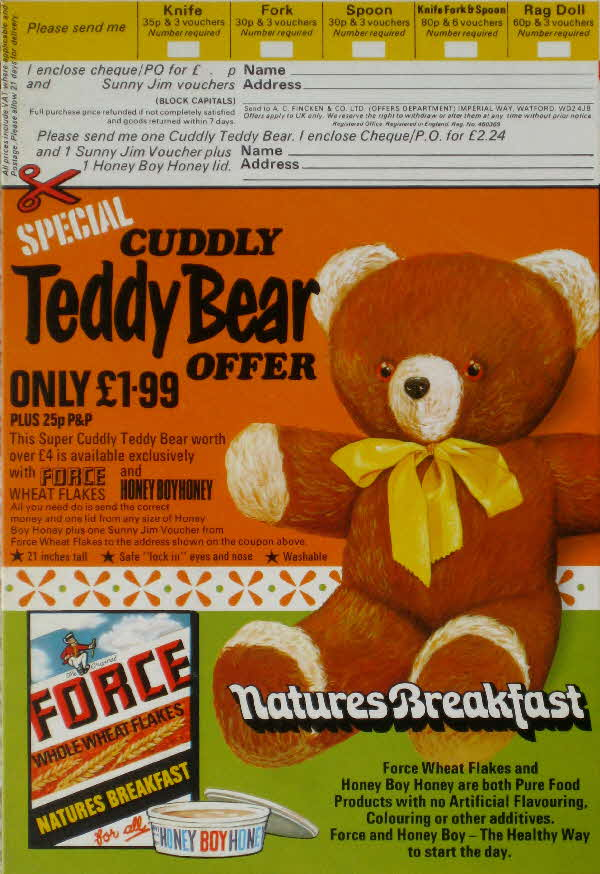 1974 Force Cuddly Bear Offer