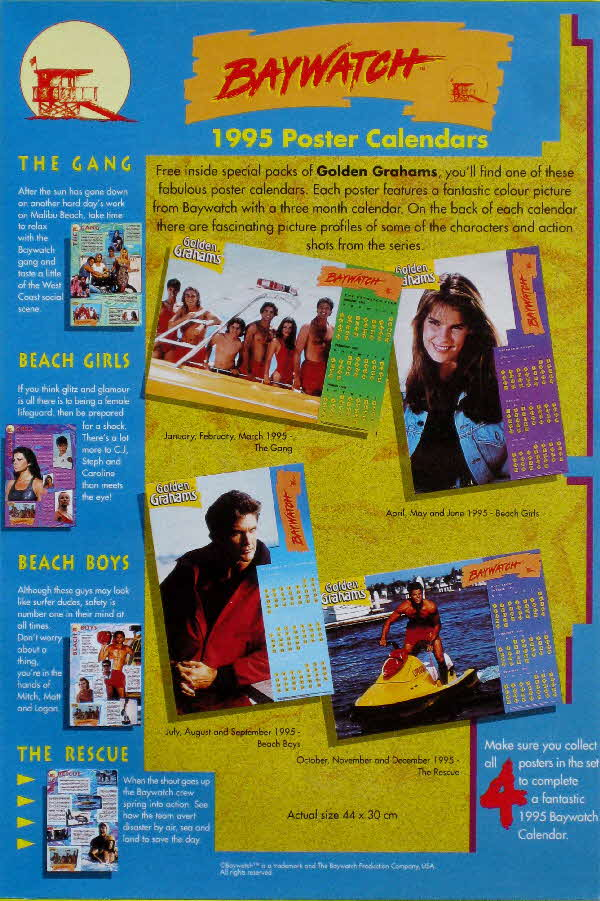 1995 Golden Grahams Baywatch Calendar (1)