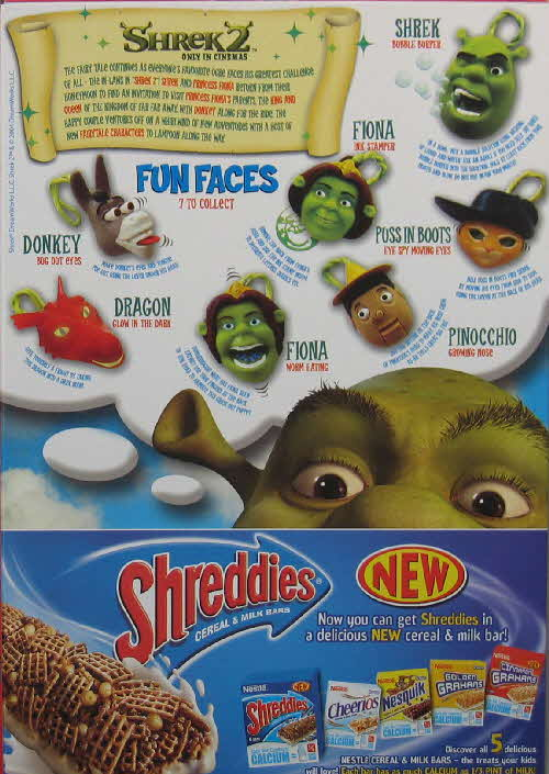 2004 Golden Grahams Shrek 2 Fun Faces back