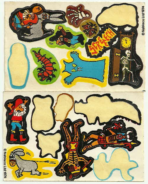 1974 Golden Nuggets Creepy Stickers 2