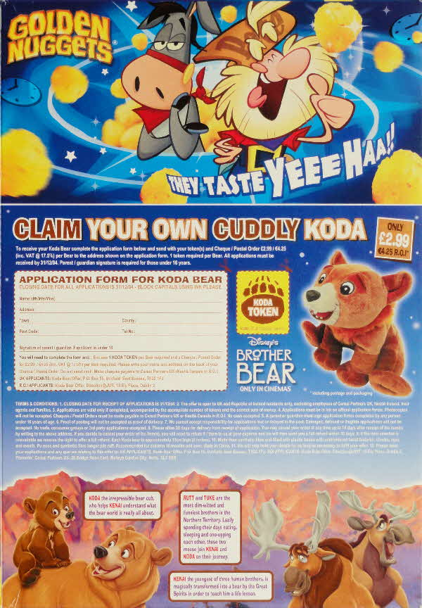 2003 Golden Nuggets Brother Bear Cuddly Koda