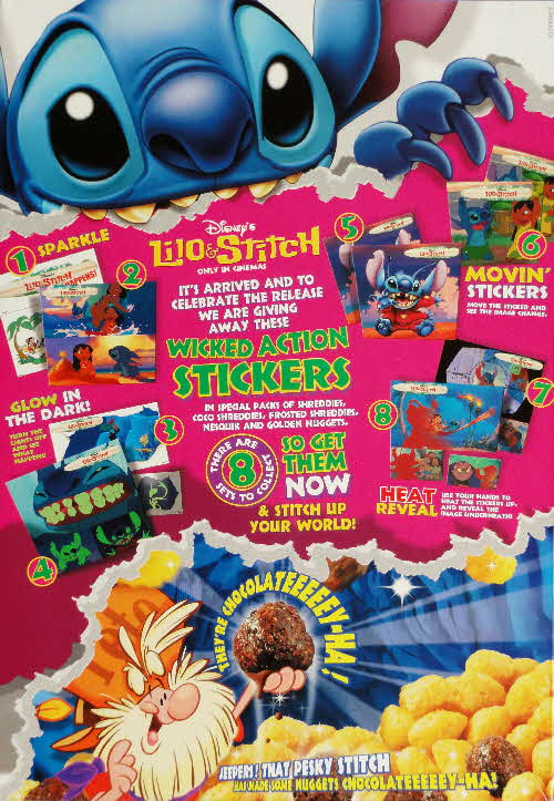 2002 Golden Nuggets Lilo & Stich Wicked Action Stickerts