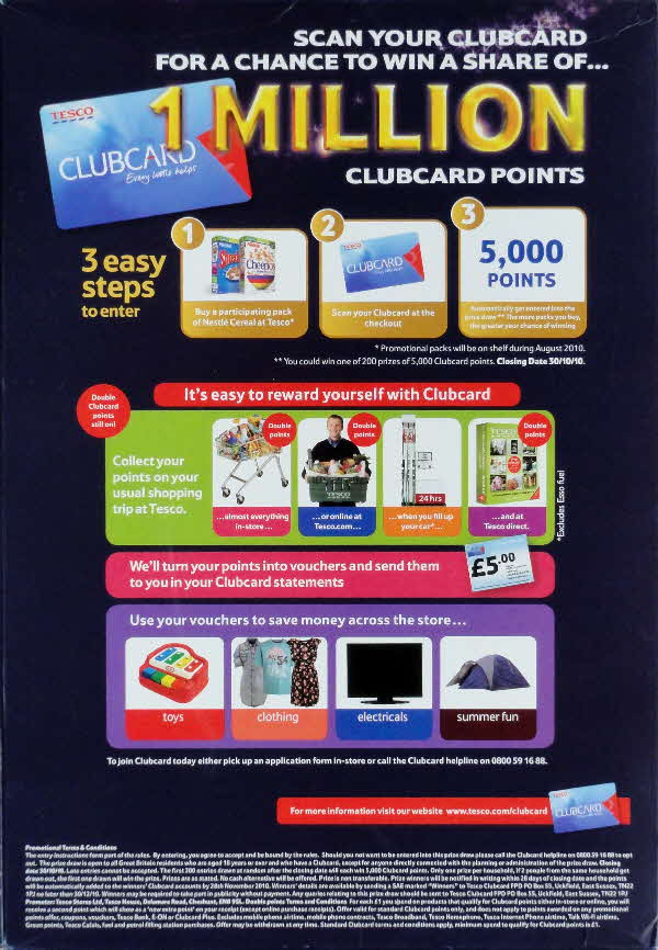 2010 Golden Nuggets 1m Tesco Clubcard points