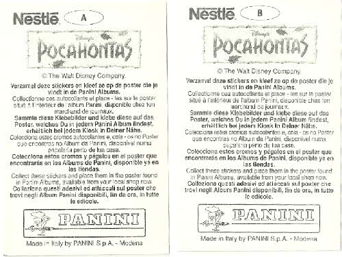 1995 Nesquick Pocahontas stickers back