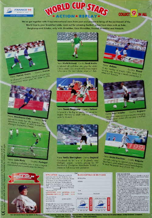 1998 Nesquick World Cup Stars Action Replay cards