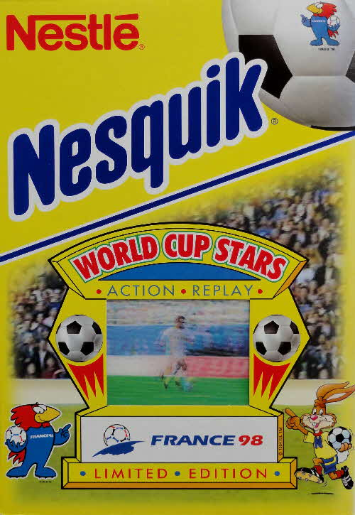 1998 Nesquik World Cup Stars France 98 Action Replay Cards front