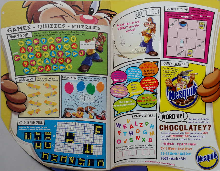 2006 Nesquik Games Quizzes & Puzzles inside open