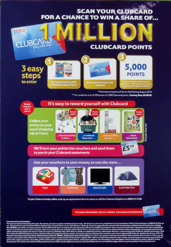 2010 Nesquik 1m Tesco Clubcard points