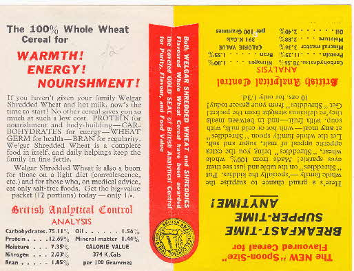 1950s Shredded Wheat double sided leaflet inside