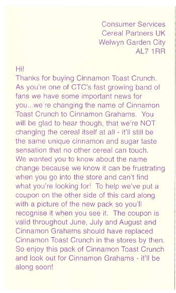 1998 Cinamon Graham Postcard (1)