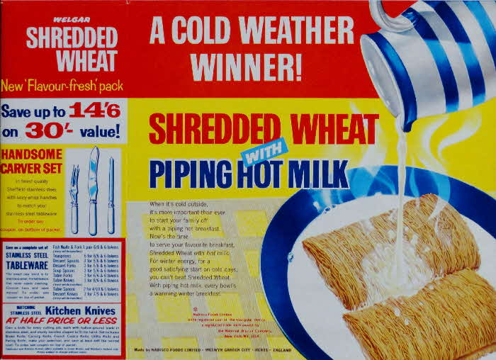 1960s Shredded Wheat  with milk & Stainless Steel Tableware