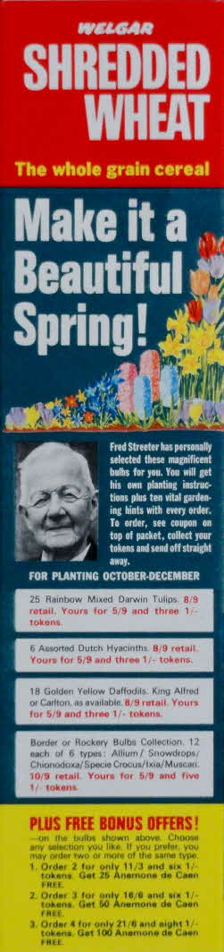 1960s Shredded Wheat Free Crocus Corms & Fred Streeter Bulbs (2)