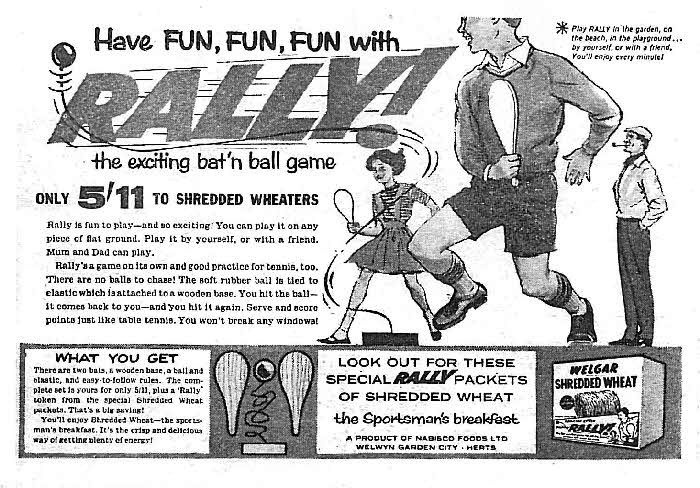 1960 Shredded Wheat Bat n ball game