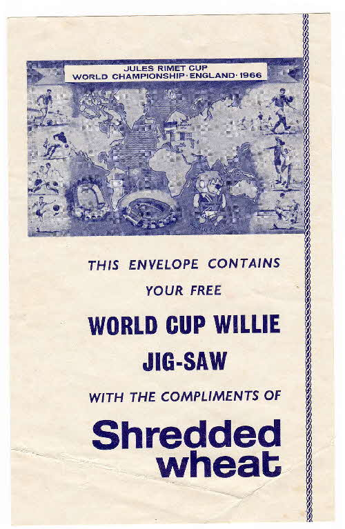 1966 Shredded Wheat World Cup Jigsaw Compliment slip