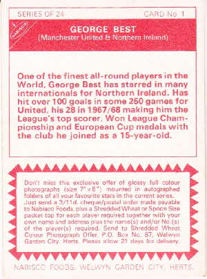 1970 Shreddies Footballer Card back variations (1)