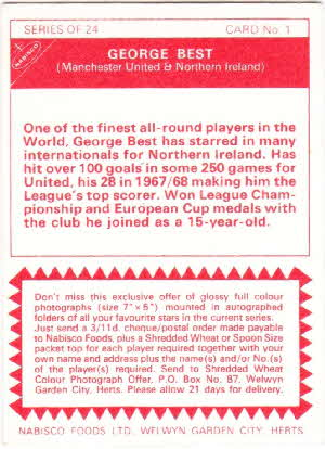 1970 Shreddies Footballer Card back variations (2)