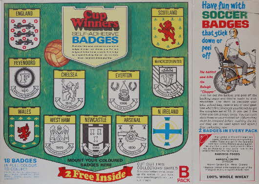1971 Shredded Wheat Cup winner badges Pack B