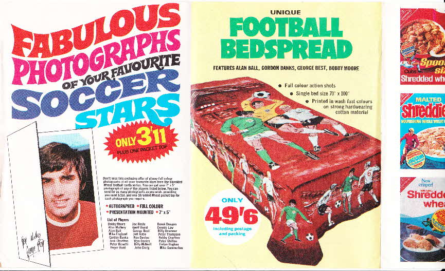 1970 Shredded Wheat Photographs, soccer cards and football bedspread leaflet (4)