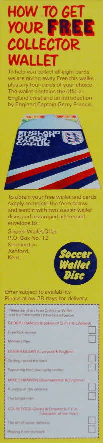 1975 Shredded Wheat England Soccer Stars Tactic Card & Wallet (2)